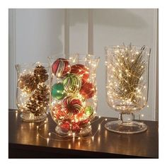 11 Simple Last-Minute Holiday Centerpiece Ideas ❤ liked on Polyvore featuring home, home decor, holiday decorations, holiday home decor, holiday decor and holiday centerpieces