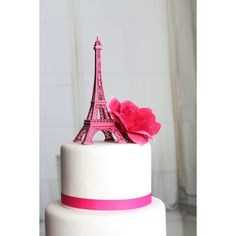 Hot Pink Paris Eiffel Tower Cake Topper, Madeline, France,... ($13) ❤ liked on Polyvore featuring cake topper