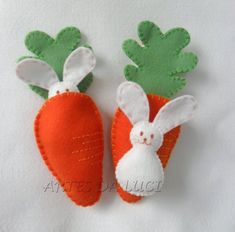 Felt Easter bunny and carrot bed.