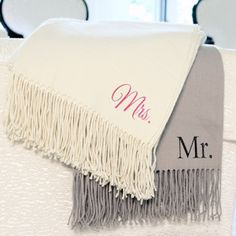 Mr. & Mrs. Throws (Set of 2) (Cathys Concepts MM) | Buy at Wedding Favors Unlimited (http://www.weddingfavorsunlimited.com/mr_and_mrs_throws_set_of_2.html).
