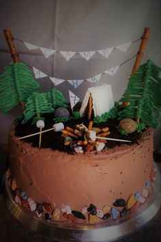 Outdoor camp themed birthday cake
