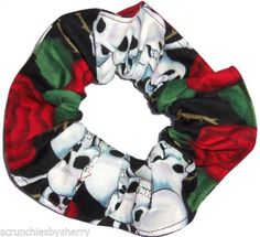 Skulls and Roses Hair Scrunchies Set of 2 Ponytail Holders Red Black White made by Scrunchies by Sherry *** Click on the image for additional details.(This is an Amazon affiliate link and I receive a commission for the sales)