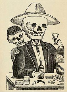 Caricaturista mexicano -Manuel Manilla (creador de la Catrina), nacido en 1830 y muerto en 1895, es considerado el  precursor de José Guadalupe Posada por sus caricaturas que incluyen personajes esqueléticos.