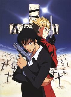 Trigun: Wolfwood and Vash... I cry everytime I watch Wolfwood's last ep lol