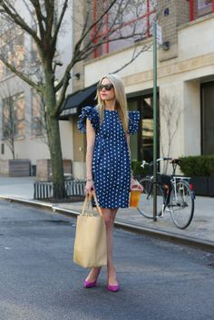 Dress: Karen Walker. Shoes: Via Spiga. Tote: Hunter Jewelry: David Yurman, Stella and Dot, Catbird, Michele Watch. Sunglasses: Oliver Peoples.
