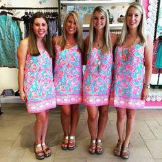 Via @ tlocascio Instagram- Lilly Pulitzer Dusk Strappy Silk Dress in Sea Blue Coral Cove Engineered
