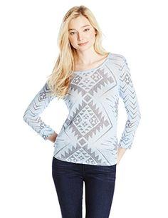 Derek Heart Juniors Printed 3/4 Sleeve Sweater Knit Top - http://dressfitme.com/fashion/derek-heart-womens-printed-34-sleeve-sweater-knit-top/