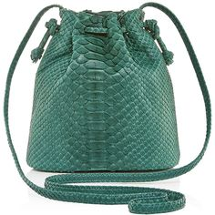Hunting Season Emerald Python Mini Bucket Bag ($695) ❤ liked on Polyvore featuring bags, handbags, shoulder bags, shoulder strap bag, green purse, crossbody handbags, crossbody shoulder bags and bucket bag purse