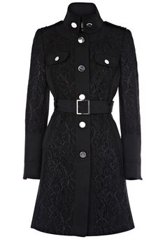 Black Long Sleeve Belt Buttons Lace Trench Coat $90