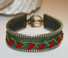 Bracelet vert - fermeture à glissière Bracelet - fait avec fleur au crochet
