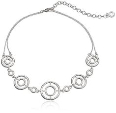 Anne Klein Silver-Tone Crystal Choker Necklace * Learn more by visiting the image link. We are a participant in the Amazon Services LLC Associates Program, an affiliate advertising program designed to provide a means for us to earn fees by linking to Amazon.com and affiliated sites.