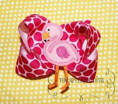 Flamingo Hair Bow Center Embroidery Design Machine Applique.