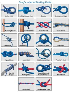 Tying different knots. These are boating knots but can be used elsewhere.