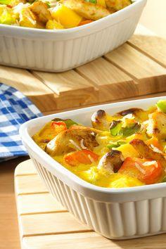 Mango-Curry mit Hähnchenbrustfilet - ein exotischer Auflauf aus dem Rezeptbuch von ich-liebe-käse.de