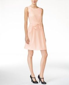 Maison Jules Bow-Detail Fit & Flare Dress, Only at Macy's - Tan/Beige L