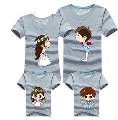 cc366b6b 13 Colors Cartoon Bride Bridegroom Print Women Men Children Boy Girl T  shirt Family Matching Outfits
