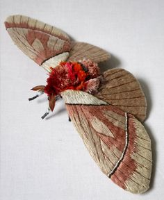 Yumi Okita   Fabric sculpture - Pseudodirphia agis Moth( Saturniidae) fiber art