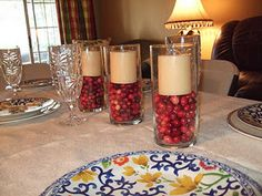 Centerpieces my sister did for Thanksgiving! They were really cute and so cheap. Everything came from the Dollar Store!