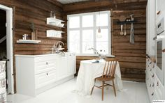 keittiö,keittiö sisustus,hirsiseinä,valkoinen