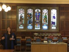 A student St Sally's Hall - note the gorgeous stained glass panels!