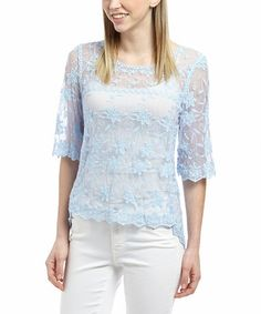 Look what I found on #zulily! Blue Sheer Lace Three-Quarter Sleeve Top - Women by Banana U.S.A. #zulilyfinds    A Bright Outlook on Lace