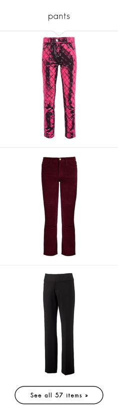 """pants"" by nanette-253 ❤ liked on Polyvore featuring pants, capris, pink, cropped pants, quilted pants, straight leg trousers, cropped trousers, straight leg pants, burgundy and burgundy corduroy pants"