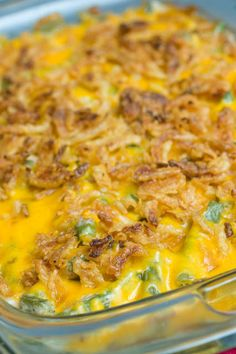 Green beans casserole. Try these with 1 can of cheddar cheese soup per 2 cans of green beans. Than top with the cheese onion rings.