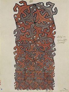 M.C. Escher – Lizards (No. 101). 1956 India Ink, pencil, watercolor.