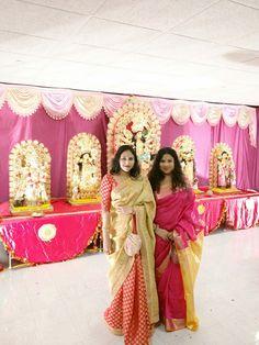 silk saree..half red chanderi and half golden..with zari,golden thread and stone work...