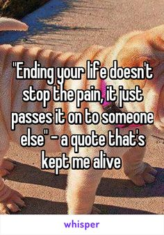 """Ending your life doesn't stop the pain, it just passes it on to someone else"" - a quote that's kept me alive"