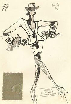 Vintage 1980s Balenciaga Fashion Design & Swatch on Chairish.com