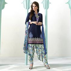 Buy Navy Blue Pure Cotton Patiala Suit for womens online India, Best Prices, Reviews - Peachmode