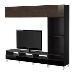 BESTÅ TV tár komb - fekete-barna/Tofta magasfényű/barna - IKEA