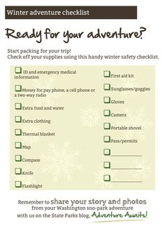 Need a handy winter safety checklist for your Sno-Park adventure? We have you covered: http://adventureawaits.com/2013/12/sno-park-101-winter-safety/.