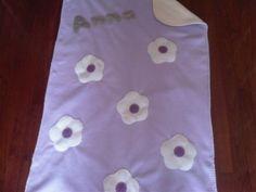 Fleece Baby Blanket: Mauve Cream Flowers