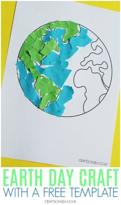 Easy Earth Day craft for kids with a free template thats great for fine motor skills too #kidscrafts #earthday #finemotor