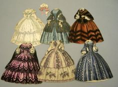 Psyche Paper Doll and Costumes, from Journal de Modes, six costumes c. 1855, one hat (front only, may not be of this period).