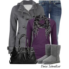 Gray and Purple, created by denise-schmeltzer on Polyvore