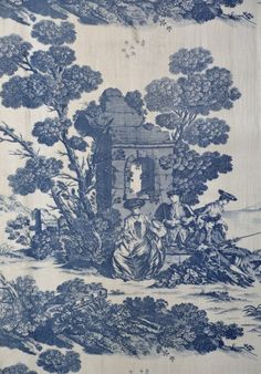 Toile fabric depicting romantic ruins