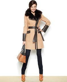 Must have this!!  Via Spiga Faux-Leather & Faux-Fur Kate Trench Coat -Macy's-