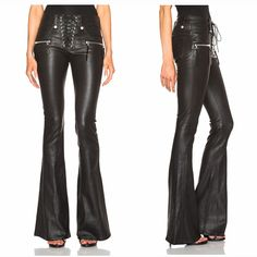 Cool Punk Fashion Womens Lace Up Slim Fit Trousers Female Flared Bell-bottom PU Leather Pants Size XS-XL Free Shipping