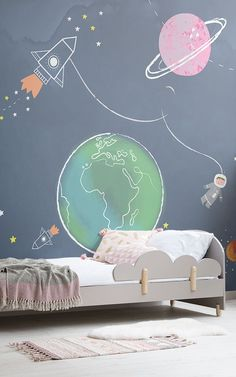 Create a magical universe inspired bedroom with these kids space bedroom ideas. The kids star bedroo Boys Space Bedroom, Cool Kids Bedrooms, Girls Bedroom, Kids Room, Young Boys Bedroom Ideas, Childrens Bedroom Ideas, Star Bedroom, Baby Bedroom, Baby Boy Rooms