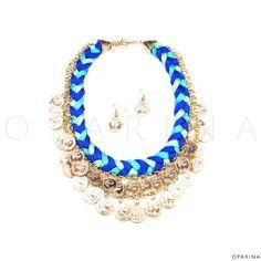 Collar de Hilos Azules con Monedas Doradas para Abundancia. #oparina #coins #lucky #bohochic #boho #gypsy  #madewithstudio
