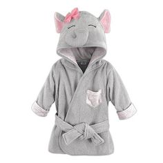 0d04316350 Animal Face Hooded Bathrobe - Elephant
