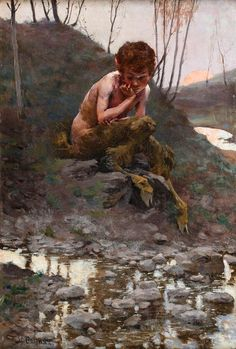 """Little Faun"" by Stanislaw Bohusz Siestrzeńcewicz (fantasy art, demons & satyrs) Woodland Creatures, Fantasy Creatures, Mythical Creatures, Fantasy Forest, Fantasy Art, Elfen Fantasy, Mythology Paintings, Nature Spirits, Mythological Creatures"