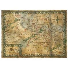 The Hobbit: Art Print: Map Of The Shire. I love how subtle this would look until you got close up.