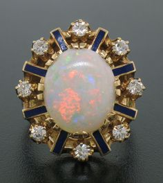 Vintage 14k Rose Gold Large Opal Diamond & Blue Enamel Ladies Rare Cocktail Ring #Cocktail