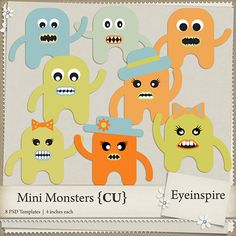 8 super cute Mini Monster Templates all layered and ready for you to decorate and pretty up! <br /> <br />This package contains: <br />8 Layered .PSD files