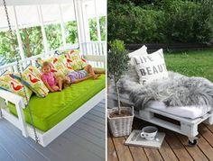 Crib mattress and pallet divan Rustic Furniture, Home Furniture, Repurposed Furniture, Painting Furniture, Furniture Design, Outdoor Furniture, Deco Dyi, Diy Mattress, Old Cribs