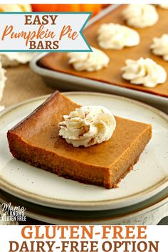Gluten-Free Pumpkin Pie Bars {Dairy-Free Option} Gluten-Free Pumpkin Pie bars have all of your favorite flavors from pumpkin pie made with an easy gluten-free graham cracker crust. The recipe also has a dairy-free option. Gluten Free Pumpkin Bars, Easy Pumpkin Pie, Pumpkin Pie Bars, Gluten Free Pie, Pumpkin Pie Recipes, Gluten Free Sweets, Gluten Free Baking, Dairy Free Recipes, Pumpkin Squares